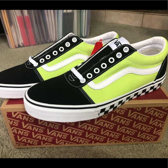 VANS Ward Skate Shoe Blk wLime Green Men's 11 NWT
